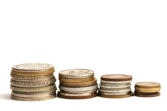 Vieilles pièces de monnaie de devise différente de l'Europe Photos libres de droits