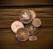 Vieilles pièces de monnaie de l'empire russe Photographie stock
