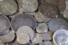 Vieilles pièces de monnaie des USA d'argent Photos libres de droits