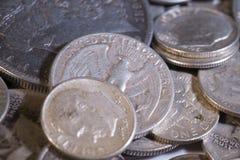 Vieilles pièces de monnaie des USA d'argent Image stock