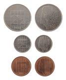 Vieilles pièces de monnaie hollandaises d'isolement sur le blanc Photo libre de droits
