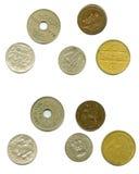 Vieilles pièces de monnaie par le découpage de les deux côtés Images libres de droits