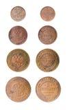 Vieilles pièces de monnaie russes d'isolement Photographie stock libre de droits