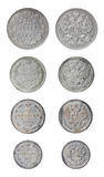 Vieilles pièces de monnaie russes d'isolement Photos stock