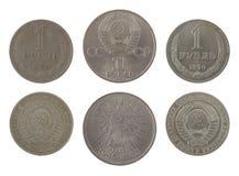 Vieilles pièces de monnaie soviétiques de rouble d'isolement sur le blanc photographie stock