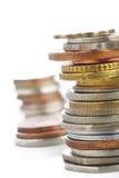 Vieilles pièces de monnaie sur le blanc Images libres de droits