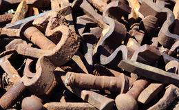 Vieilles pièces rouillées de chemin de fer Image stock