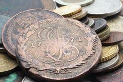 Vieilles pièces de monnaie russes Photographie stock libre de droits