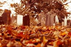 Vieilles pierres tombales dans le cimetière Photo stock