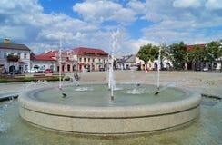 Vieilles place et fontaine du marché dans Lowicz, Pologne Photographie stock