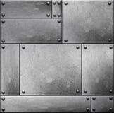 Vieilles plaques de métal rustiques avec des rivets sans couture photographie stock