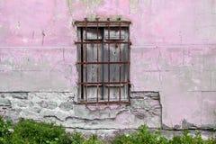 Vieilles portes et fenêtres en bois avec l'usine sur le mur Photo stock