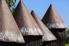 Vieilles ruches en bois peintes décorées de l'fleurs peintes à la main, Zalipie, Pologne photographie stock libre de droits