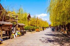 Vieilles rues de ville de Lijiang Images libres de droits