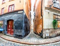 Vieilles rues de ville de Stockholm images libres de droits