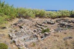 Vieilles ruines dans Kefalos Photo stock