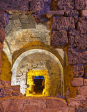 Vieilles ruines dans le côté, Turquie au coucher du soleil Image libre de droits