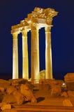 Vieilles ruines dans le côté, Turquie au coucher du soleil Image stock