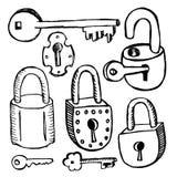 Vieilles serrures et clés sur le fond blanc Image libre de droits