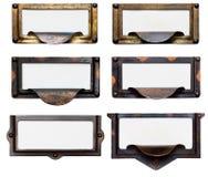 Vieilles trames de classeur avec les étiquettes blanc Photo stock