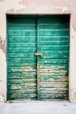 Vieilles trappes en bois rustiques peintes en vert photographie stock