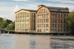 Vieilles usines. Paysage industriel. Norrkoping. Suède Photo stock