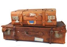 Vieilles valises en cuir image libre de droits