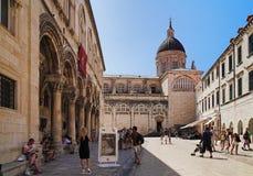 Vieilles ville de Dubrovnik et cathédrale de supposition Image libre de droits