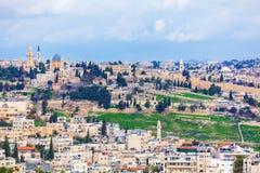 Vieilles ville et Esplanade des mosquées de Jérusalem image libre de droits
