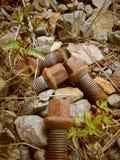 Vieilles vis rouillées s'étendant sur le chemin en pierre images stock