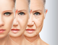 Vieillissement de peau de concept de beauté procédures anti-vieillissement, rajeunissement, se soulevant, serrage de la peau faci Photos stock