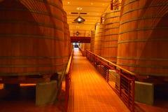 Vieillissement de vigne dans les barils en bois Image libre de droits