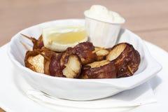 Vieiras envolvidas bacon Imagens de Stock Royalty Free