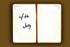 Vieja agenda con un recordatorio Fotos de archivo libres de regalías