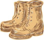 Vieja aguafuerte de las botas Imagen de archivo libre de regalías