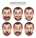 Vieja cabeza del hombre de la barba con diversa expresión facial Foto de archivo libre de regalías