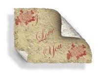 Vieja carta de amor de la tarjeta del día de San Valentín Imagen de archivo libre de regalías