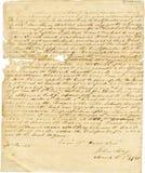 Vieja carta manuscrita antigua, bordes raídos Fotografía de archivo