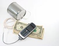 Vieja charla de la tecnología al equipo de la nueva tecnología, dinero de los costes Fotografía de archivo