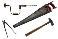 Vieja colección de las herramientas de la vendimia antigua Imágenes de archivo libres de regalías