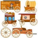 Vieja colección del oeste del carro stock de ilustración