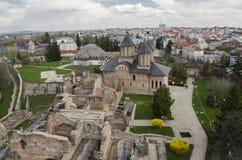Vieja corte real en Targoviste, Rumania imagen de archivo libre de regalías