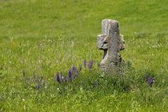 Vieja cruz de piedra en un prado verde Foto de archivo