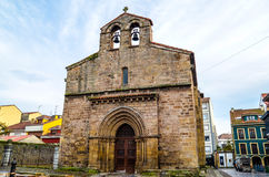 Vieja de Sabugo church. In the heart of fishing quarter there is one more Romance sight of Aviles - Vieja de Sabugo church. It was built in XIII. Here fishermen royalty free stock photo