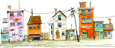 Vieja ejemplo dibujado de la acuarela de la escena de la calle de la ciudad mano Imagenes de archivo