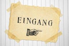 Vieja entrada de escritura de la etiqueta de papel Imagenes de archivo