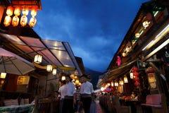 Vieja escena de la noche de la calle de la ciudad de Dali Imagenes de archivo