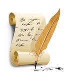 Vieja escritura de la escritura con la herramienta de la pluma de la tinta Fotografía de archivo
