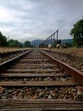 Vieja estación de tren con las ovejas en el sur de Chile Imagenes de archivo