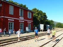 Vieja estación de tren en Arzana Imágenes de archivo libres de regalías